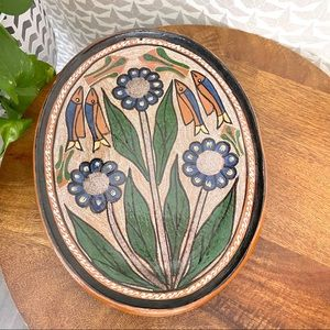 Vtg Mexican Pottery Plate Tray Fish Flower Decor